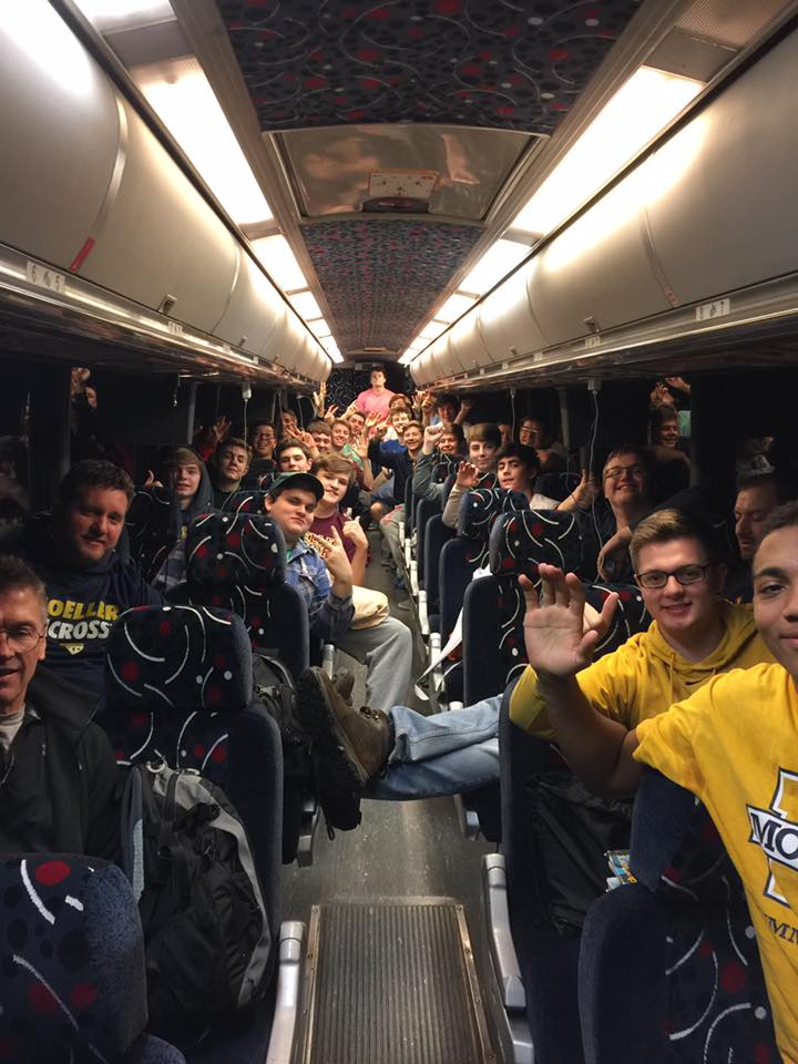 Men of Moeller board buses to head for March in Washington. (Courtesy Photo