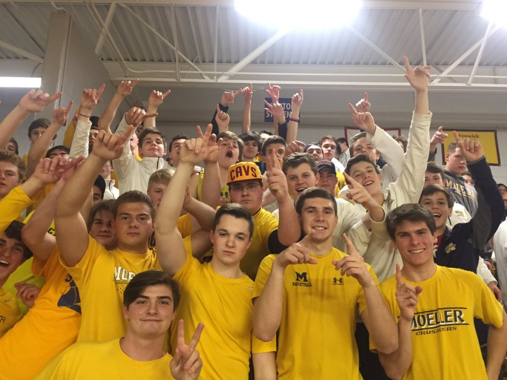 Men of Moeller cheering on their Crusaders. (courtesy Photo)