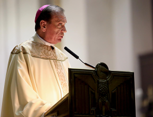 Archbishop Schnurr delivers homily for World Day of Peace. (Photo by E.L. Hubbard)