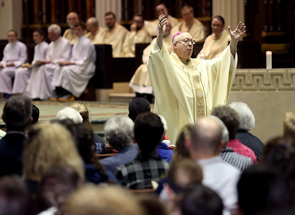Auxiliary Bishop Most Reverend Joseph Binzer delivers his Homily during the Catholic Schools Week Mass at the Cathedral of Saint Peter in Chains in Cincinnati Tuesday, Jan. 31, 2017. (CT Photo/E.L. Hubbard)