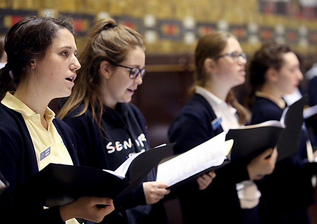 The Ursuline Academy High School Choir sings during the Catholic Schools Week Mass at the Cathedral of Saint Peter in Chains in Cincinnati Tuesday, Jan. 31, 2017. (CT Photo/E.L. Hubbard)