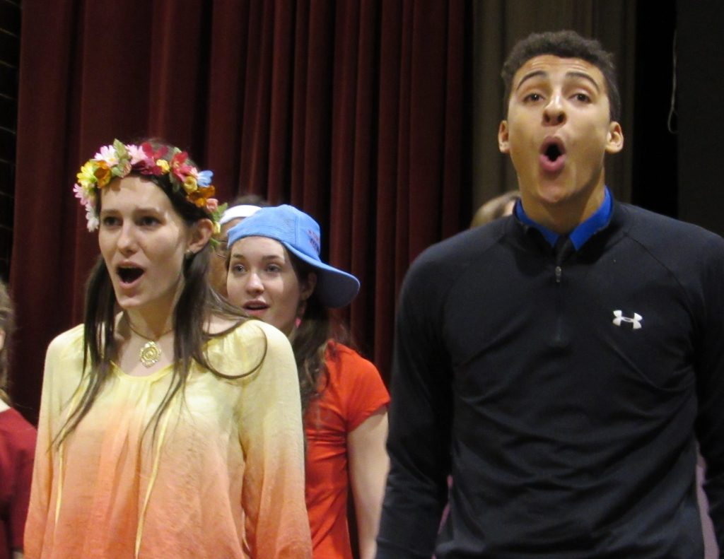 Kaitrin and Kam of Lehman High School perform in the Musical Godspell (Courtesy Photo)