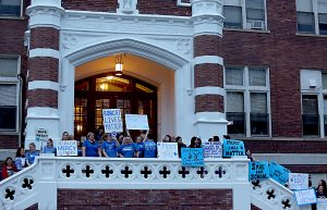 Parents, teachers, and students held a rally in support of keeping Mother of Mercy High School in Cincinnati open Thursday, Mar. 9, 2017. (CT PHOTO/E.L. HUBBARD)
