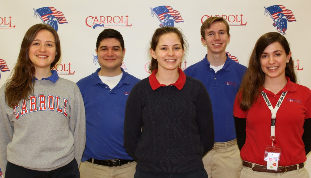 Carroll High School National Merit Finalist From Left to Right, Julia Arnold, Alex Dingus, Maeve Curliss, Ryan Buechele, and Angela Smith. (Courtesy Photo)