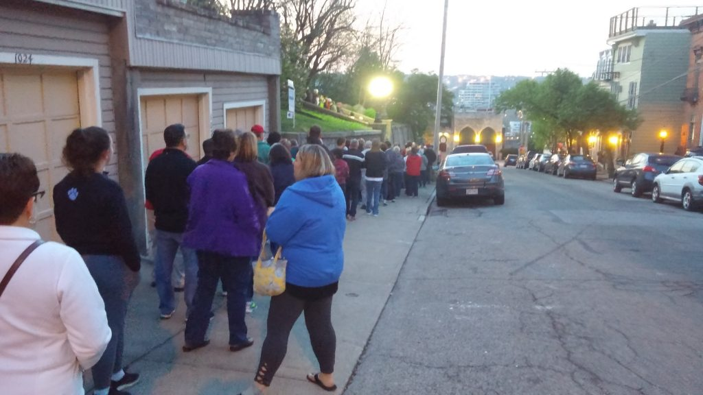 By 6:45 a.m. large crowds were awaiting to ascend the sacred steps at Holy Cross Immaculata (Greg Hartman/CT Photo)