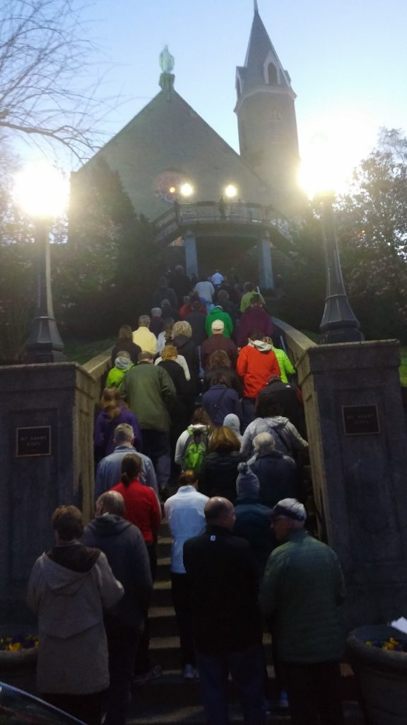 Year after year Pilgrims gather at Holy Cross Immaculata praying the steps on Good Friday. (Greg Hartman CT/Photo)