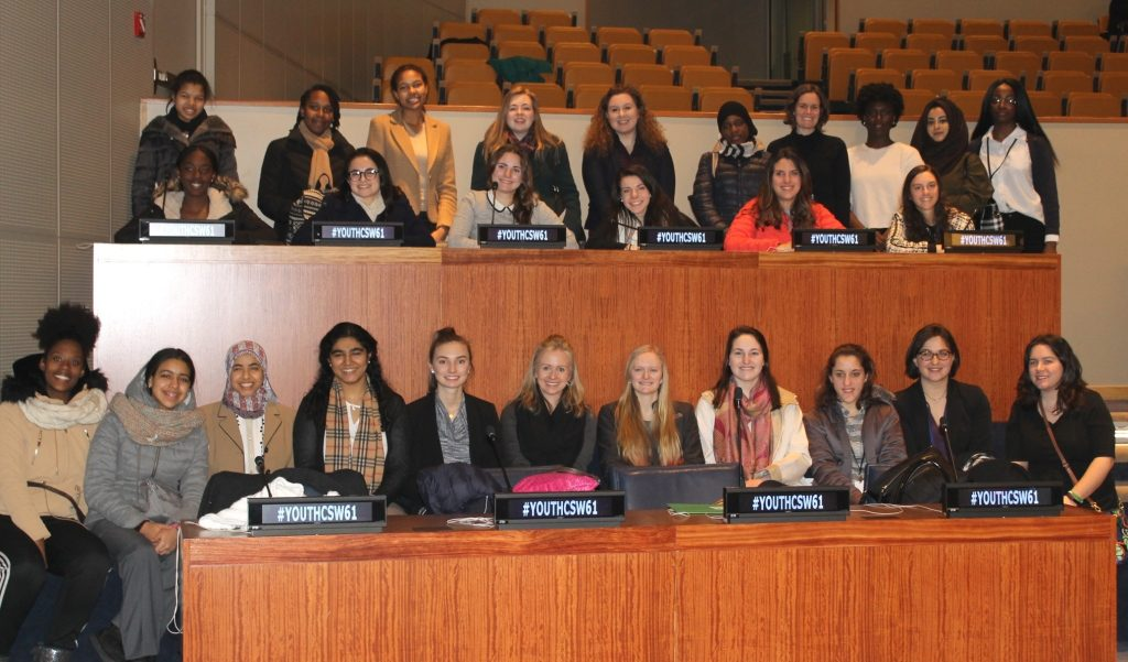 Ursuline students Nadia Alam '18 of Montgomery, Noor El-Ansary '18 of Mason, and Kendall Hodgen '18 of West Chester, and Ursuline Social Studies faculty member Ms. Kelsey Bladh Randall '04 attended the sixty-first session of the Commission on the Status of Women at the United Nations Headquarters in New York City from March 13 to 17. (Courtesy Photo)