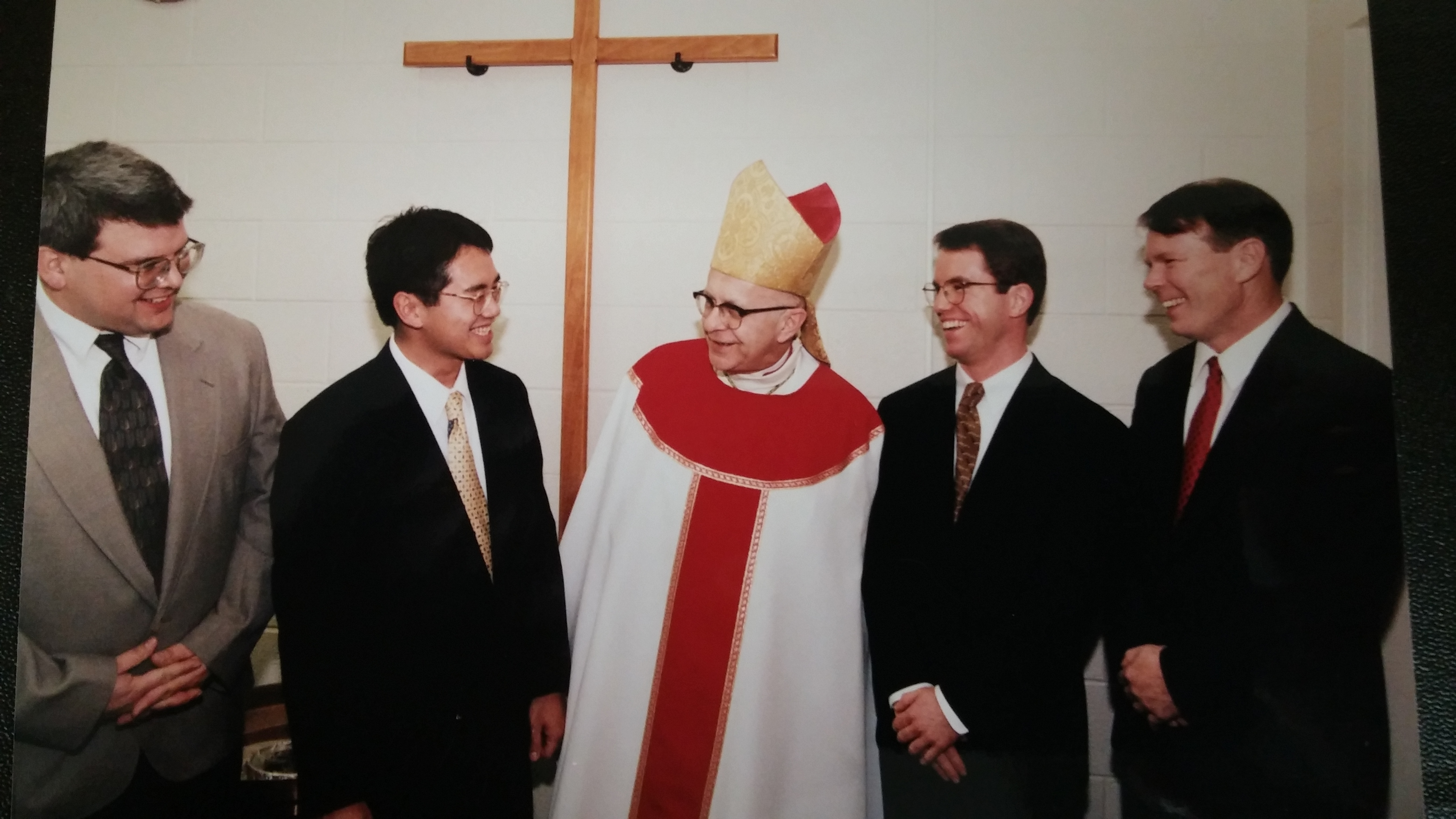 Stephen Kolde, Tuan Do, James Simmons and James Hoffbauer with Archbishop Pilarczyk