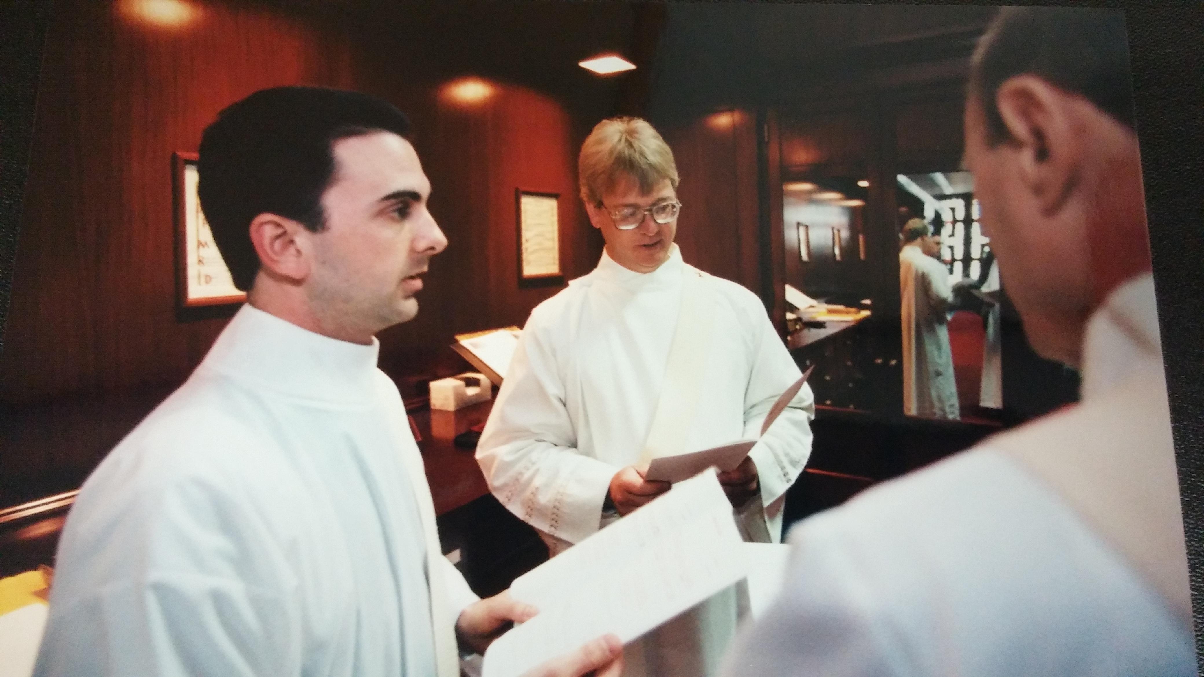 Deacons Piepmeyer, Fullmer, and Meyer prepare for Ordination