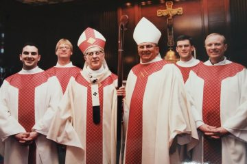 Archbishop Daniel Pilarczyk and Bishop Carl Moeddel with Fathers Jeffrey Fullmer, Mark Meyer, Patrick Sloneker, Ronald Piepmeyer