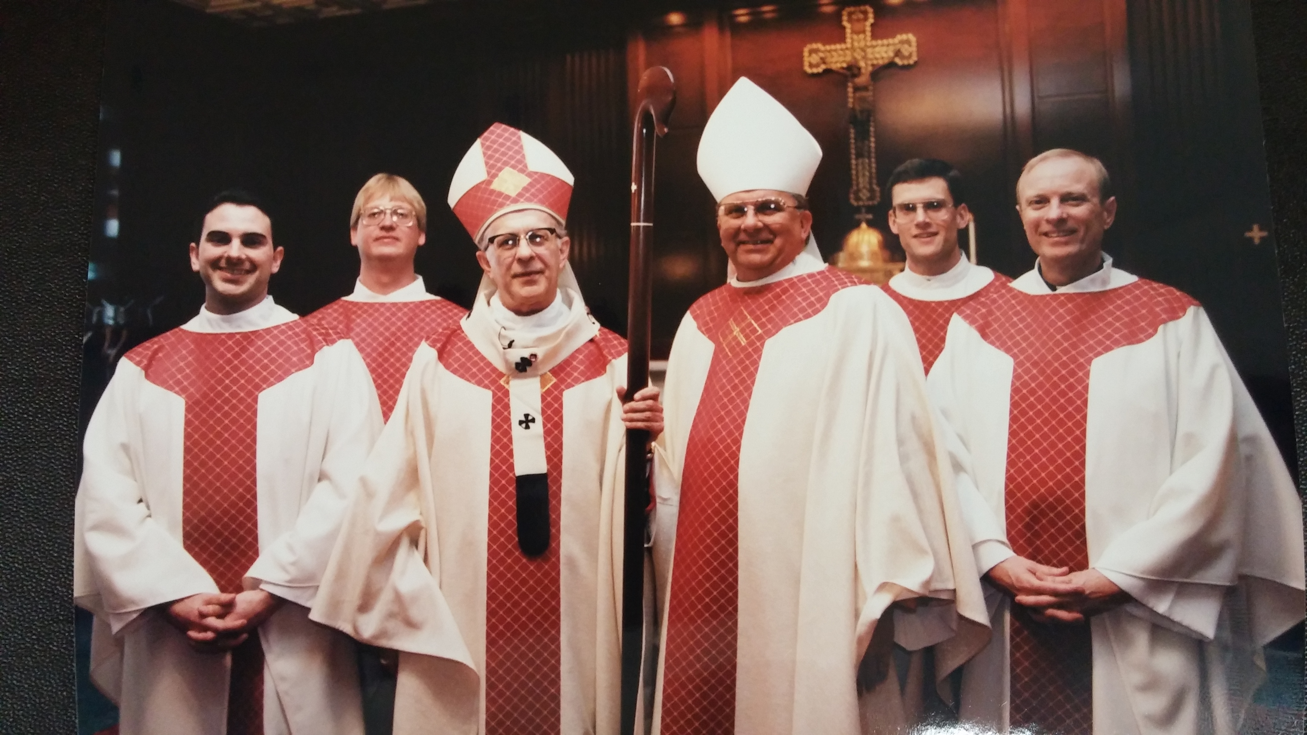 Archbishop Daniel Pilarczyk and Bishop Carl Moeddel with Fathers Jeffrey Fullmer, Mark Meyer, Patrick Sloneker, Ronald Piepmeyer