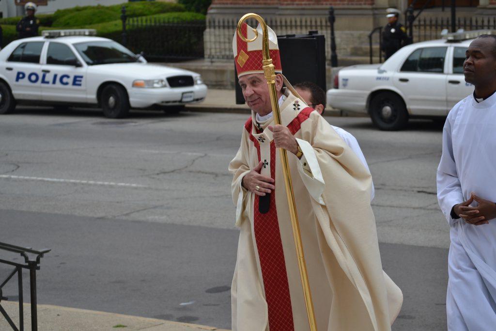 The Most Reverend Archbishop Dennis M. Schnurr awaits Ordination 2017. (Ct Photo/Greg Hartman)