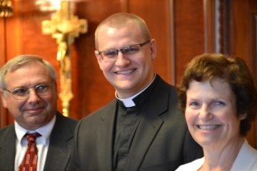 Deacon Mr. David Doseck with parents John and Teresa preparing for Ordination 2017 (Ct Photo/Greg Hartman)