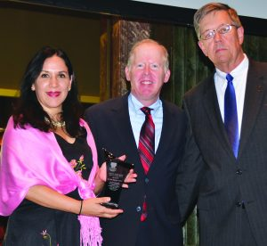 Pictured are Giovanna Alvarez of Su Casa; Elliot Grossman, President of the Cincinnatius Association and Ted Bergh, executive director of Catholic Charities of Southwestern Ohio, at the presentation of the Donald and Marian Spencer Spirit of America Awards May 9. (Courtesy Photo)