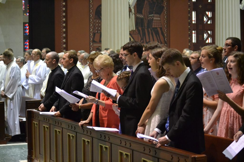 The congregation sing the Litany of Supplication (CT Photo/Greg Hartman)