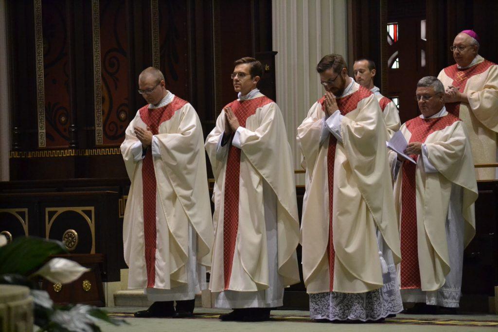 From left to right, Reverend David Doseck, Reverend Peter Langenkamp, and Reverend Alexander Witt. (CT Photo/Greg Hartman)