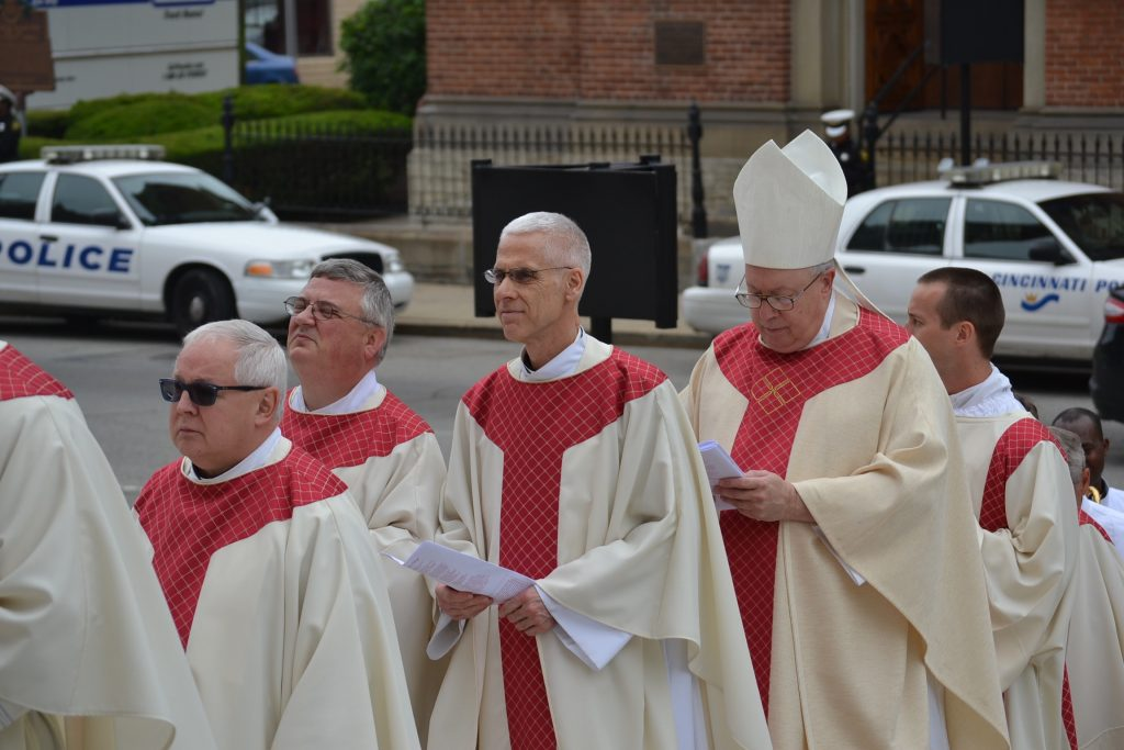 Rev. Barry Windholtz, Reverend Benedict D. O'Cinnsealaigh, Reverend Steve Angi, and Bishop Joseph R Binzer on Ordination Day 2017 (CT Photo/Greg Hartman)