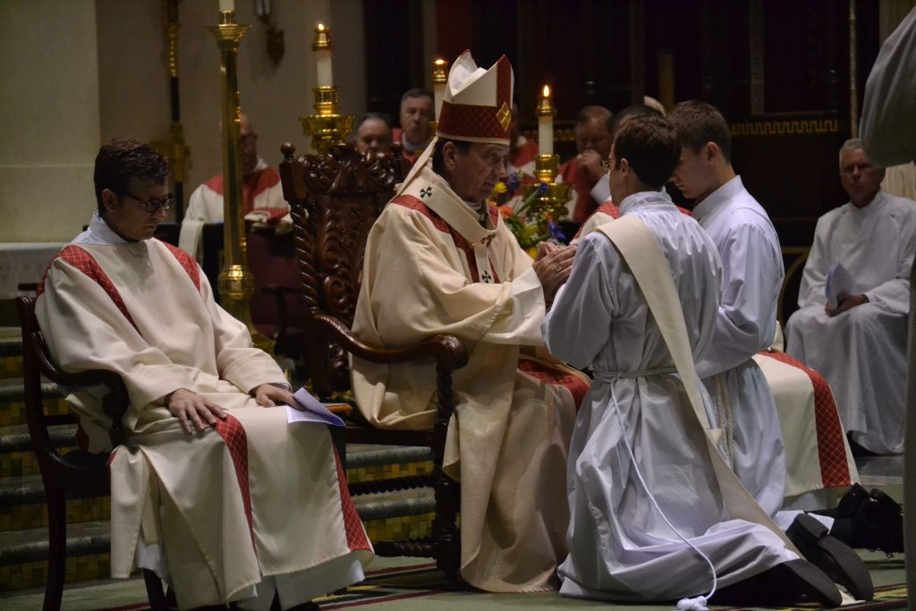 The Archbishop questions David Doseck about his intention to serve the people of God and perform their ministry as ordained priests (CT Photo/Greg Hartman)