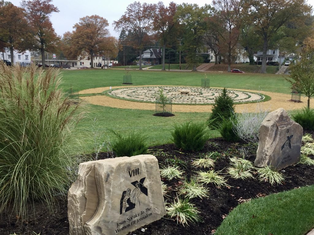A marvel of engineering, the round labyrinth at St. Joseph Gardens has one path to the center and back, bordered in rock and decorative liriope grass. The paths themselves are laid out in limestone gravel. The central bench features a slab of Tennessee Crab Orchard stone (the same kind of stone used in the nearby Stations of the Cross prayer pathway that weighs more than 1,500 pounds.