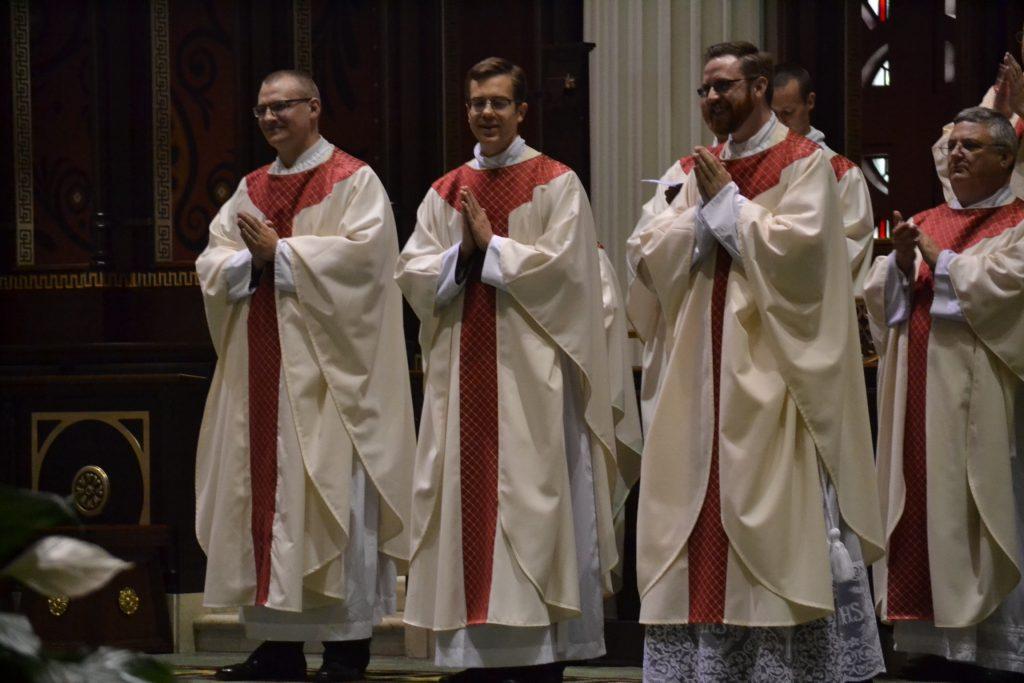 The Archdiocese of Cincinnati's newest priests, Reverend David Doseck, Reverend Peter Langenkamp, & Reverend Alexander Witt (CT Photo/Greg Hartman)