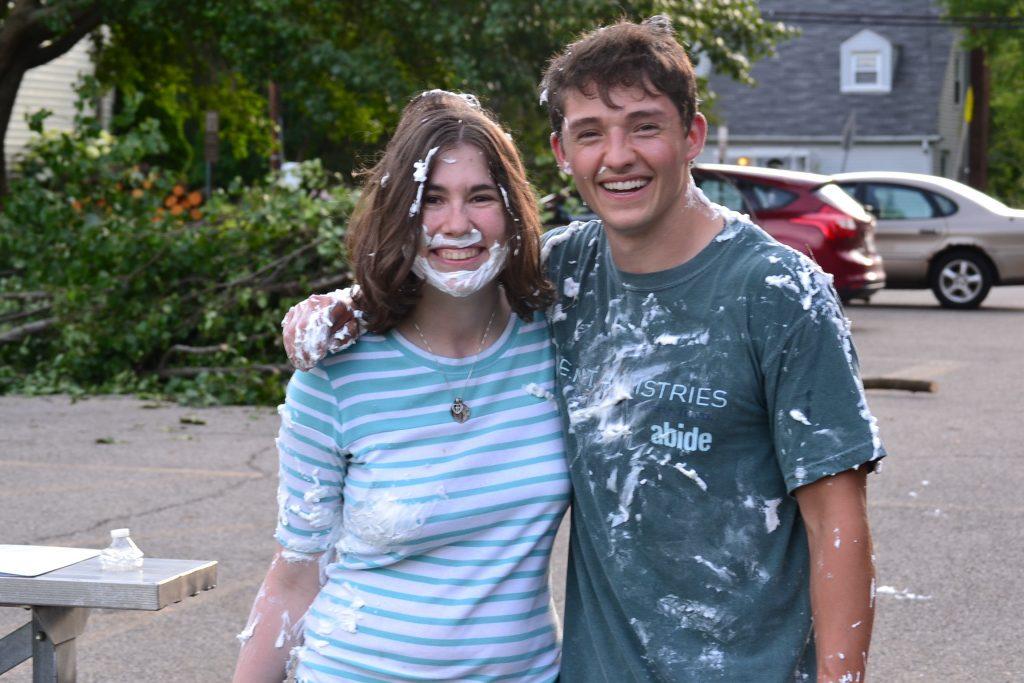 The team didn't escape the wrath of shaving cream. (CT Photo/Greg Hartman)