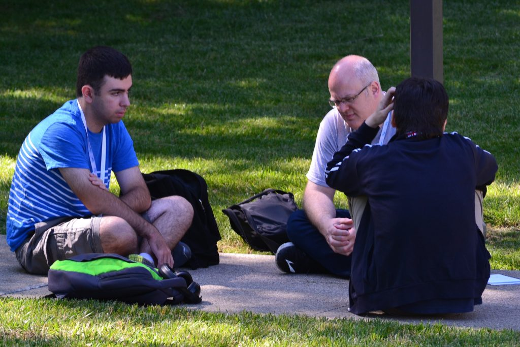 This small group took advantage of the shade on a warm June morning at Abide (CT Photo/Greg Hartman)
