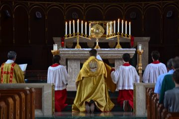 The Corpus Christi procession concluded with Benediction at the Chapel of St. Gregory the Great (CT Photo/Greg Hartman)