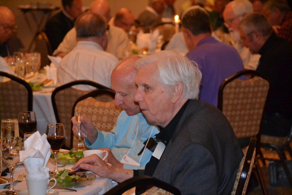 Rev. John Wall and Rev. Edward Shine enjoying the anniversary dinner. (CT Photo/Greg Hartman)