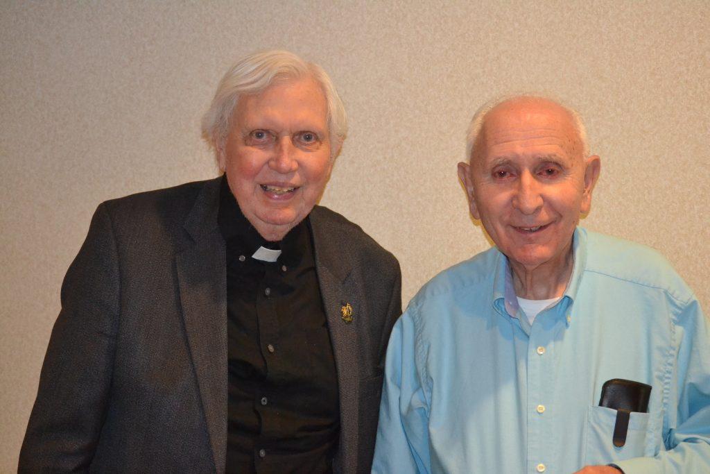 Celebrating 60 years of Priesthood on the left Rev. John E. Wall, and on the right Rev. John E. Wall (CT Photo/Greg Hartman)
