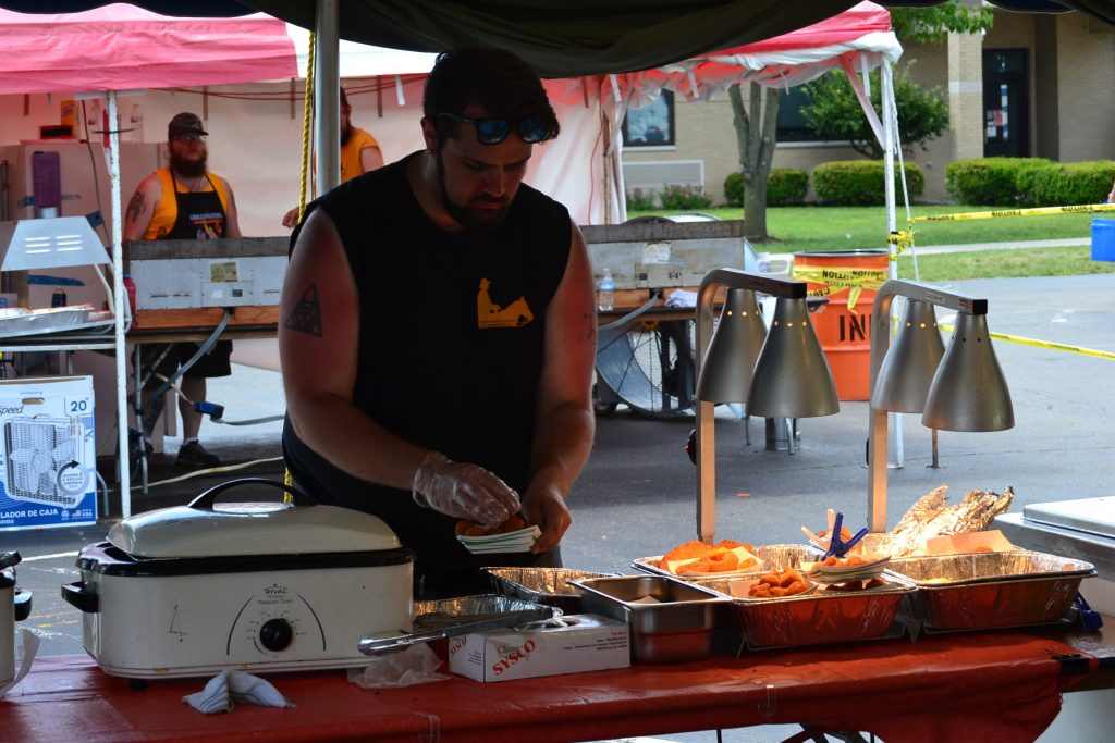 Hot grill on a hot day! So grateful for our dedicated festival volunteers (CT Photo/Greg Hartman)