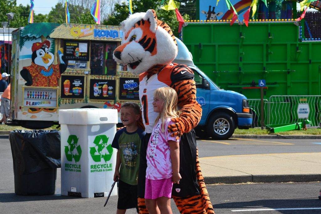 Pictures and Selfies abounded with the Cincinnati Bengal Mascot (CT Photo/Greg Hartman)
