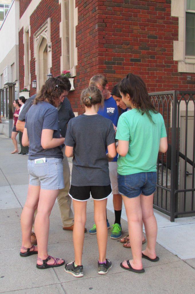 Participants prayed outside St. Francis Xavier Church in downtown Cincinnati. (CT Photo/Greg Hartman)