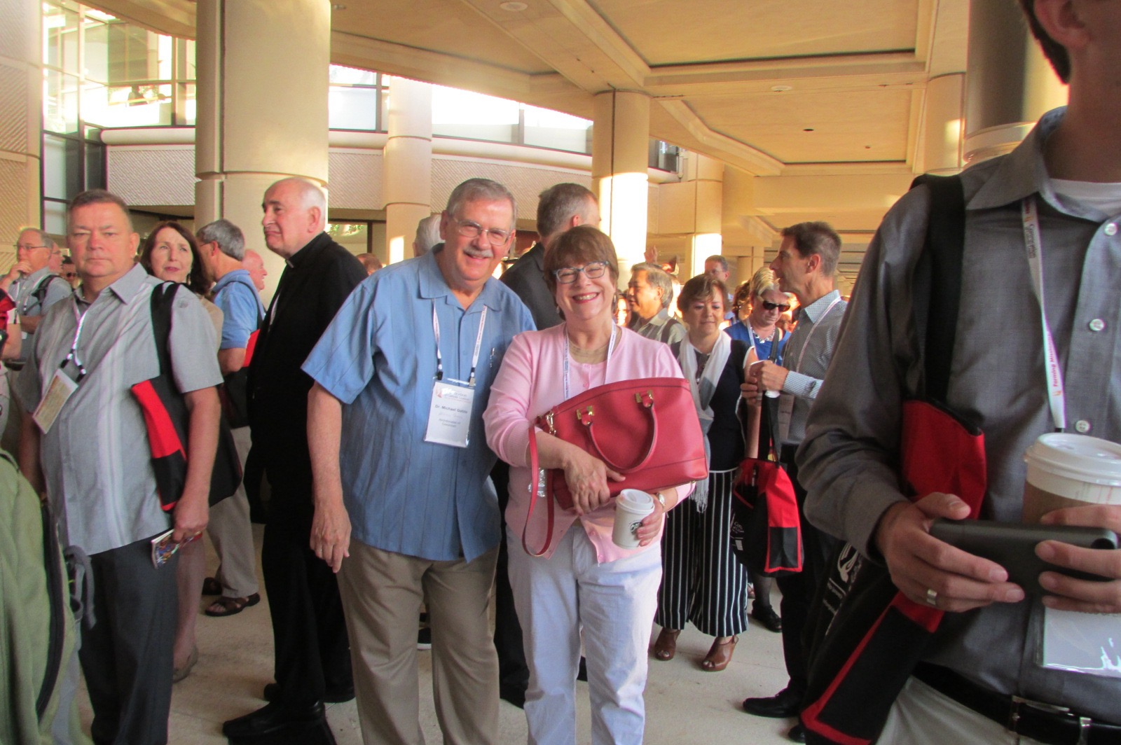 Mike Gable, director of the Missions Office, and Helen Fahey from the Stewardship Office (CT Photo/Gail Finke)