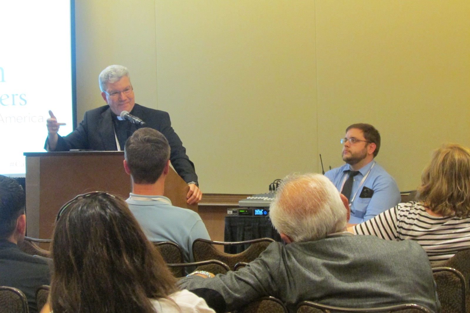 Bishop Monforton (Steubenville) addresses attendees at a breakout session on the needs of mothers (CT Photo/Gail Finke)