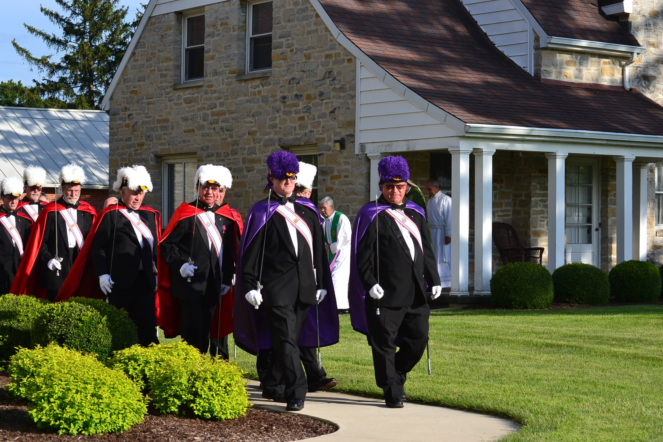 Knights of Columbus lead the procession for the Rural Farm Mass. (CT Photo/Greg Hartman)