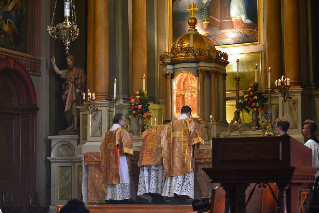 Celebrating the 175th Anniversary Mass were Fr. Lawrence Juarez, C.O., Fr. Jon-Paul Bevak, C.O., and Fr. Adrian Hilton C.O. (CT Photo/Greg Hartman)