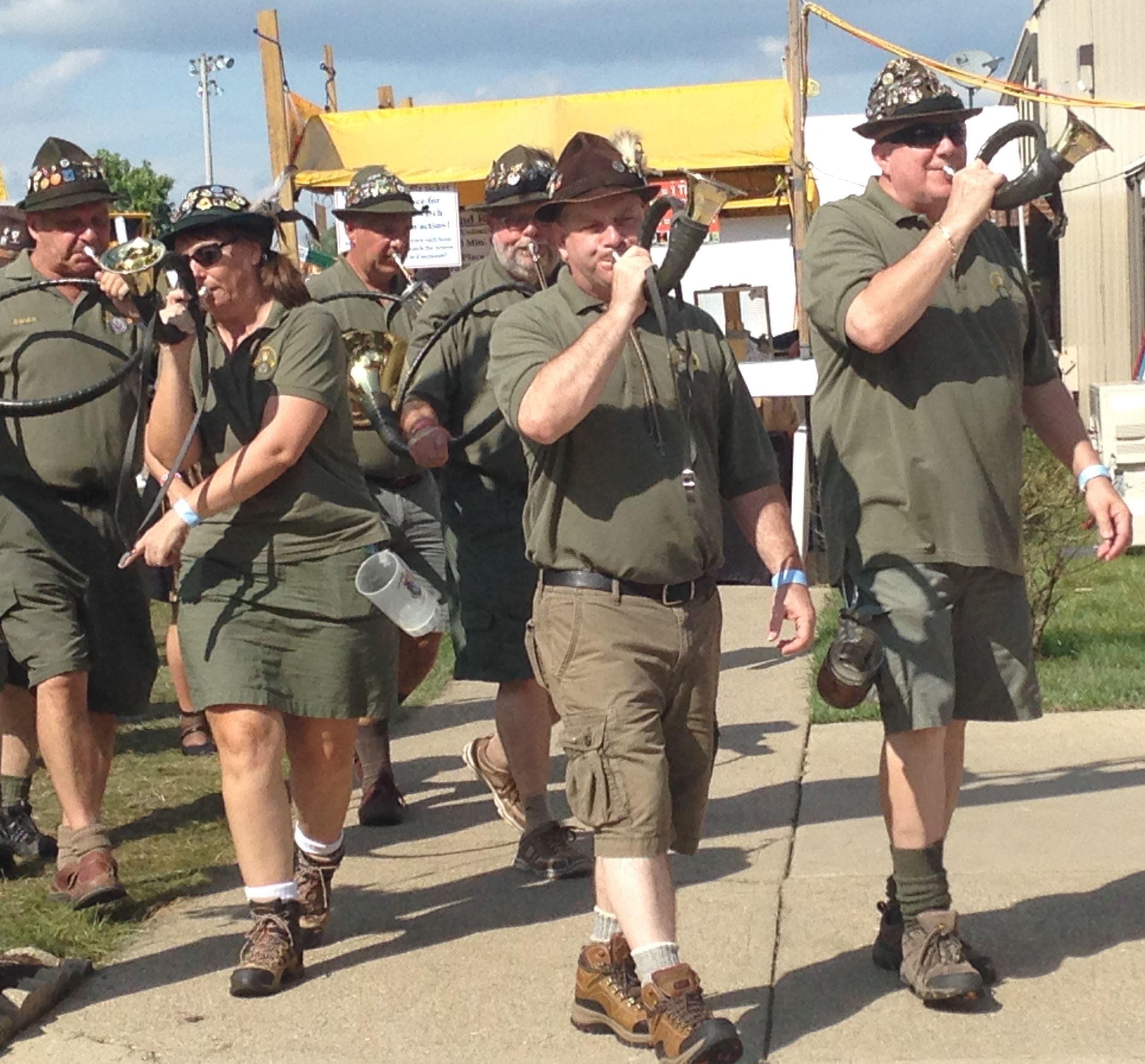A horn band plays at the annual parade of German society representatives. (CT Photo/Gail Finke)