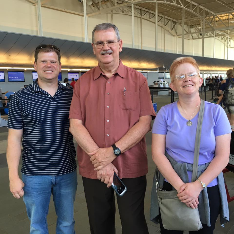 Tony Stieritz, Mike Gable, and Sister Eileen Connelly ready to board flight to India. (Courtesy Photo)