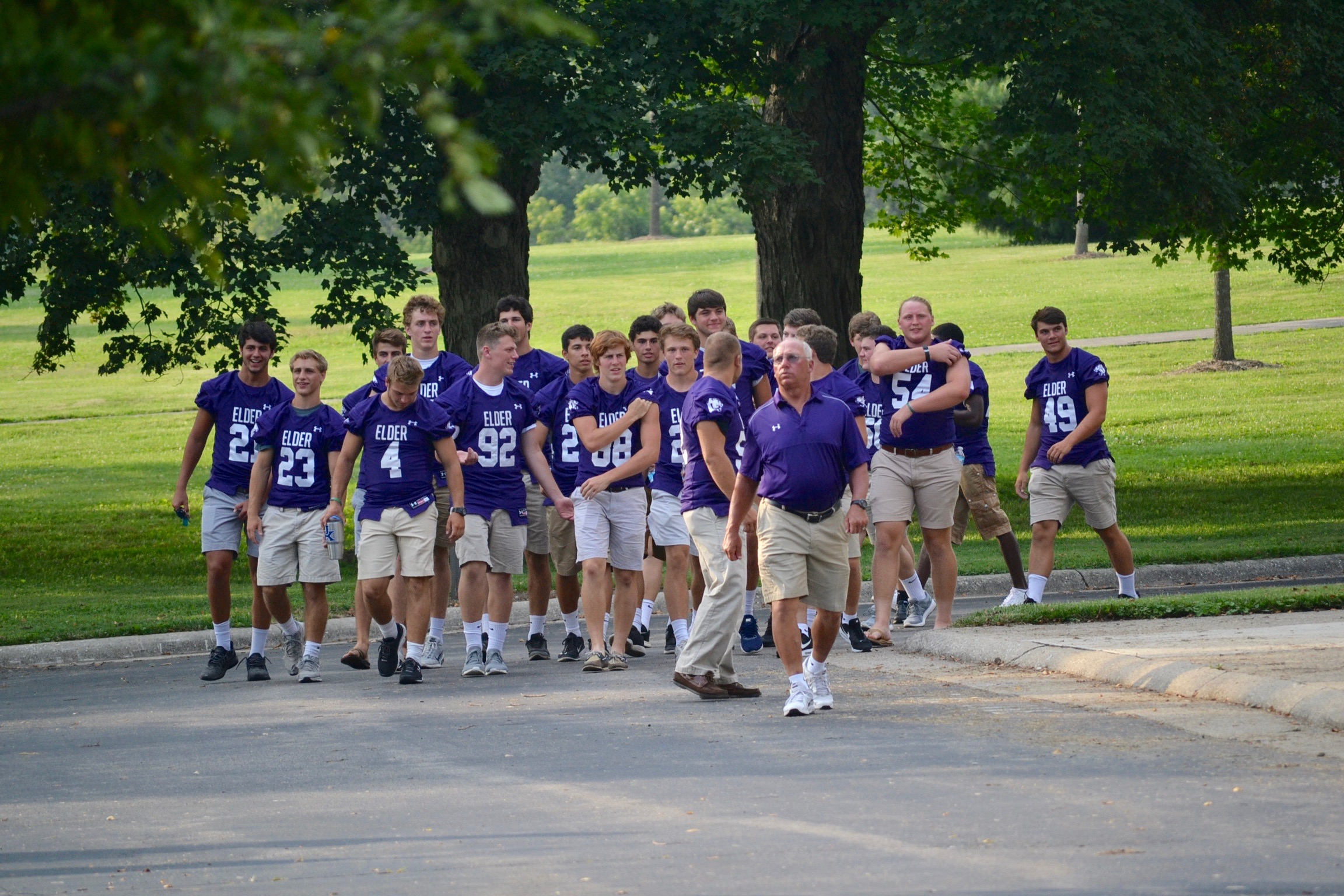 The Elder Panthers arrive at the 2017 Sportsleader Rosary Rally. (CT Photo/Gail Finke)