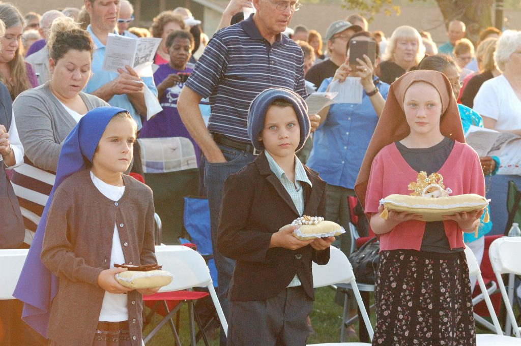 Children portraying the three Fatima children are: Ava Timmeman (8, from Fort Recovery), Kadyn Alter (10, from Celina), and Christine Merrill (12, from Fort Recovery). (CT Photo/Jeff Unroe)
