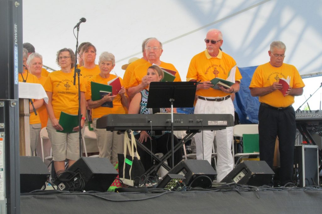 """One time when the """"Celtic Alleluia"""" really was: Singers from St. Anthony and several other nearby parishes sang the Celtic Mass setting and a variety of hymns with connections to Ireland, including a haunting """"Old Irish Blessing"""" and the Marian hymn """"Our Lady of Knock."""" (CT Photo/Gail Finke)"""