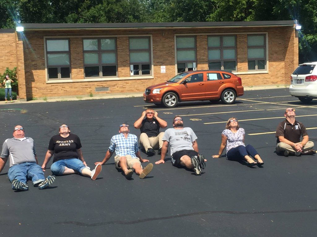 The parking lot at Roger Bacon High School was a great place to witness the solar eclipse (Courtesy Photo)