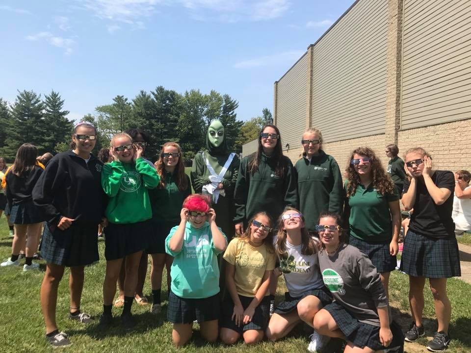 Ursuline Academy students enjoy Eclipse Day 2017 (Courtesy Photo)