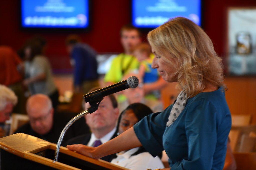 Jill Meyer, President & CEO Cincinnati USA Regional Chamber, gives the Keynote Address. (CT Photo/Greg Hartman