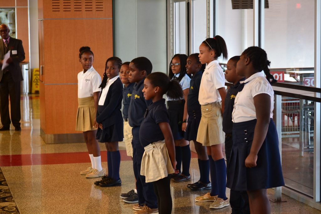 St. Joseph Catholic School Choir gives a singing sendoff. (CT Photo/Greg Hartman)