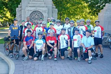 Cyclists preparing to leave the University of Notre Dame for the four-day, 240-mile trip to the University of Dayton. (Courtesy Photo)