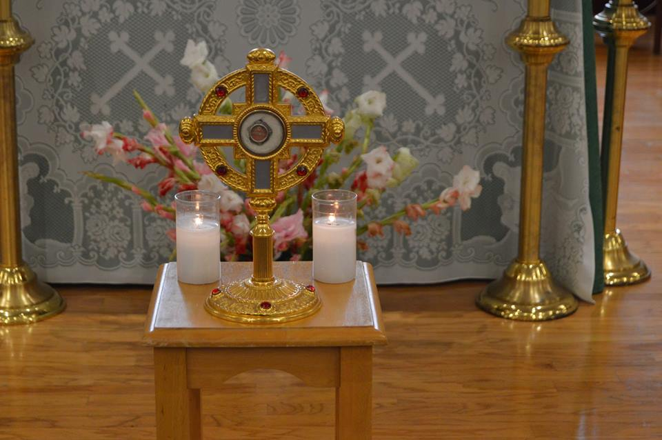 A relic of St. Ann is displayed in a cross-shaped reliquary. (Courtesy Photo)