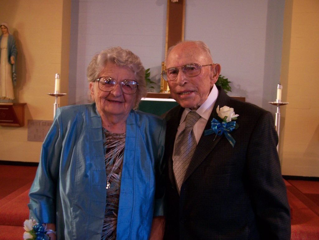 Rita and Charles Hawkins are pictured on the occasion of their 65th wedding anniversary. They'll celebrate 70 years together in September. (Courtesy Photo)