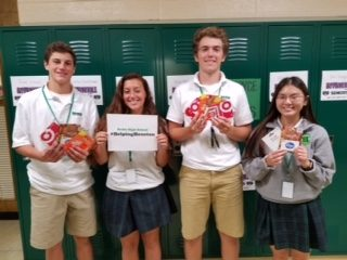 "Badin High School seniors who played a role in the ""Helping Houston"" effort included, from left, Sam Mathews, Allie Browning, Jordan Flaig and Abby Bond. The Badin students and community raised more than $3,000 in gift cards to send to the Clear Creek Independent School District in Houston. (Courtesy Photo)"