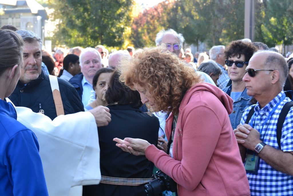 Receiving Communion at the English Speaking Mass, Lourdes France, September 29, 2017 (CT Photo/Greg Hartman)